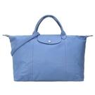 【南紡購物中心】LONGCHAMP Le Pliage Cuir 系列小羊皮短把折疊水餃旅行袋(大/薄霧藍)