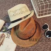 (中秋大放價)夏季禮帽正韓遮陽帽英倫女士帽子男士草帽爵士帽情侶度假沙灘帽子