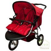 [ 家事達 ] HB 美國Syncon 雙胞胎並排三輪嬰兒手推車-紅色