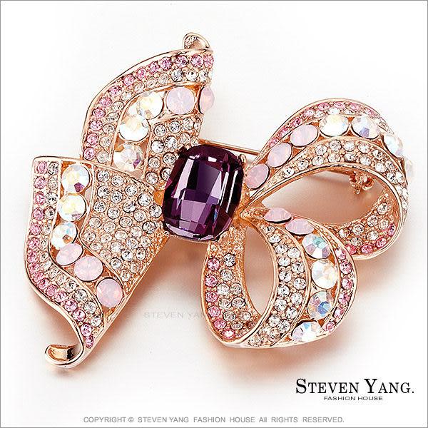 STEVEN YANG正白K飾「翩翩起舞」水晶別針胸針 蝴蝶 玫金 母親節禮物