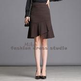依多多 格子半身裙秋季不規則裙子包臀a型魚尾裙超火的中裙