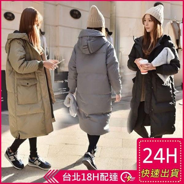 免運★梨卡 - 小中大尺碼M-3XL正韓國代購情侶可穿超長版鋪棉連帽加厚仿羽絨風衣外套長大衣A135