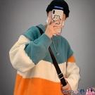 熱賣毛衣 日系秋冬季拼色寬鬆圓領毛衣男韓版潮流情侶慵懶加厚港風針織毛衫【618 狂歡】