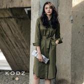 東京著衣【KODZ】經典百搭俐落排釦襯衫洋裝-S.M.L(172440)
