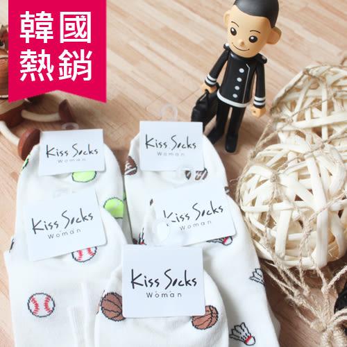 韓國 熱銷 滿版 白底 球類 網球 橄欖球 棒球 籃球 羽毛球 襪子