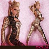 VIVI情趣用品專賣店 情趣商品 角色扮演 虐戀精品CICILY-狂野小野豹 塗膠仿皮性感彈力連體緊身衣