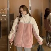 快速出貨 外套韓版學院風仿羊羔毛撞色加厚外套女寬鬆矮個子上衣潮【2021新年鉅惠】