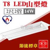 節能標章【奇亮科技】含稅 旭光 2尺2管 14W T8 LED山型燈 吸頂燈 附節能LED燈管 YD10422SC