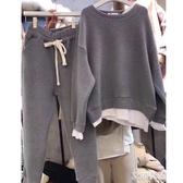假兩件衛衣女秋冬新款韓版加絨休閒時尚運動套裝學生潮長褲兩件套『艾麗花園』