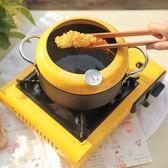 油炸鍋 能測溫の明黃色小炸鍋 家用日式深口小油炸鍋 喵可可