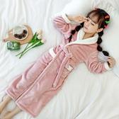 兒童睡袍浴袍兒童浴袍珊瑚絨睡袍法蘭絨秋冬季女童加長款睡裙女孩翻領寶寶睡衣