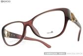 GUCCI 光學眼鏡 GG3728F 0D0 (深紅棕) 金球鏤空貓眼款 #金橘眼鏡
