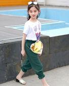 女童夏裝中大童兒童裝休閒長褲寬鬆九分褲潮