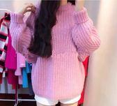 EASON SHOP(GU4061)蝙蝠袖圓領長袖毛衣針織衫女上衣服素色秋冬裝寬鬆泡泡袖韓版套頭小香風斜垮肩