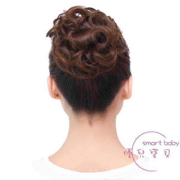 假髮女髮圈頭花丸子盤髮花苞頭髮飾造型髮包仿真皮筋頭繩蓬松頭花 【快速出貨】