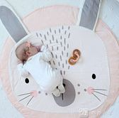 爬行墊 兔子游戲地墊獅子地毯嬰兒寶寶兒童圓形墊子 爬行墊全棉推車毯 igo 娜娜小屋