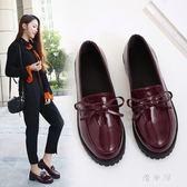 樂福鞋 小皮鞋女新款韓版休閒英倫黑色蝴蝶結軟妹時尚單鞋套腳樂福鞋 QG8005『優童屋』