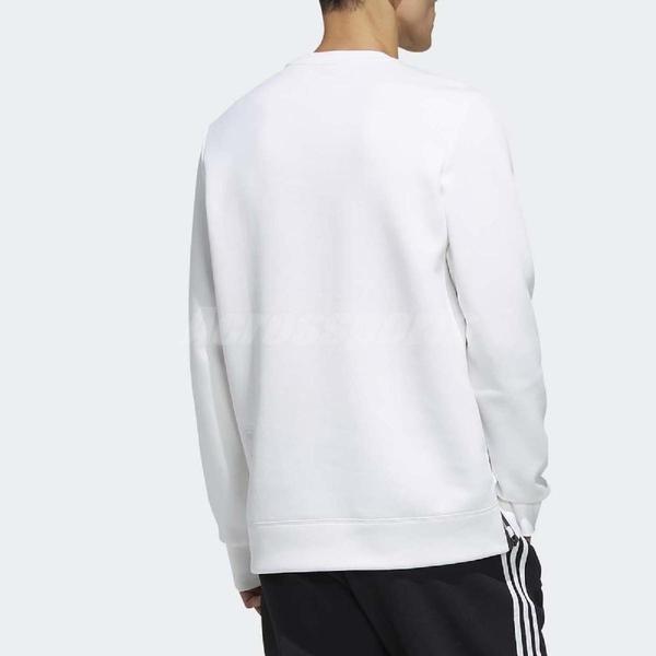 adidas 長袖T恤 ID Logo Top 白 黑 男款 大學T 運動休閒 【ACS】 FJ0253