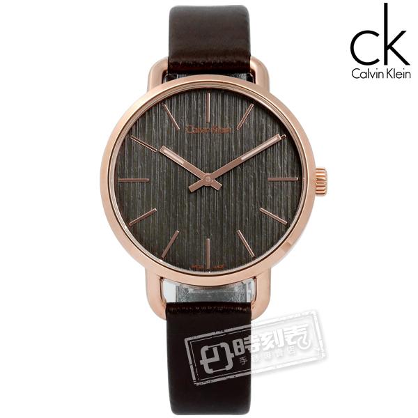 CK / K7B236G3 / EVEN 沉靜雅緻 岩紋 皮革手錶 灰x玫瑰金框x深褐 36mm