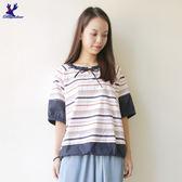 【早秋新品】American Bluedeer - 橫條紋綁帶上衣(特價) 秋冬新款