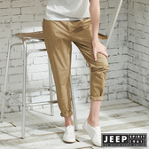 【JEEP】女裝 夏日海洋滿版船錨造型休閒長褲-卡其色