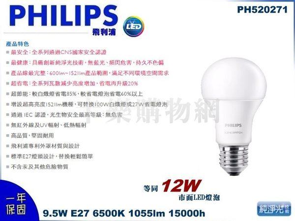PHILIPS飛利浦 LED 9.5W E27 6500K 全電壓 白光 廣角型 球泡燈 PH520271