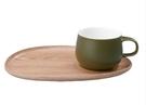 金時代書香咖啡 KINTO FIKA Cafe 輕食木製杯盤組 墨綠色 KINTO-22582-GR