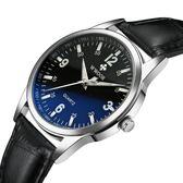 手錶 真皮帶手錶 夜光防水錶 藍光玻璃錶【非凡商品】w165