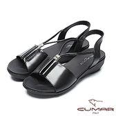 ★2018春夏新品★【CUMAR】舒適底台-水鑽點綴調整式真皮涼鞋(黑)