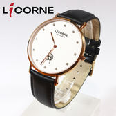 【萬年鐘錶】 LICORNE 力抗 entree 簡約風格 白色錶面 黑色皮錶帶 LT056MRWSD 黑帶