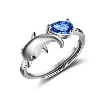 925純銀戒指 水晶開口戒-時尚優雅可愛海豚生日七夕情人節禮物女飾品73lz56[時尚巴黎]