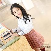 女童半身裙兒童短裙親子百褶裙學院風格子裙【時尚大衣櫥】