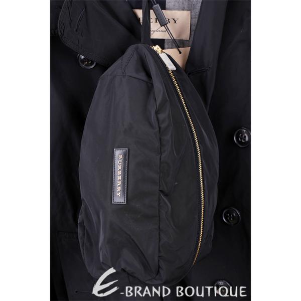 BURBERRY 雙排釦連帽黑色中長版防風外套(男款) 1730332-01