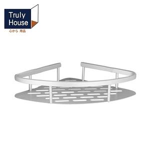 【Truly House】免打孔三角扇形置物架/轉角角落架/無痕貼