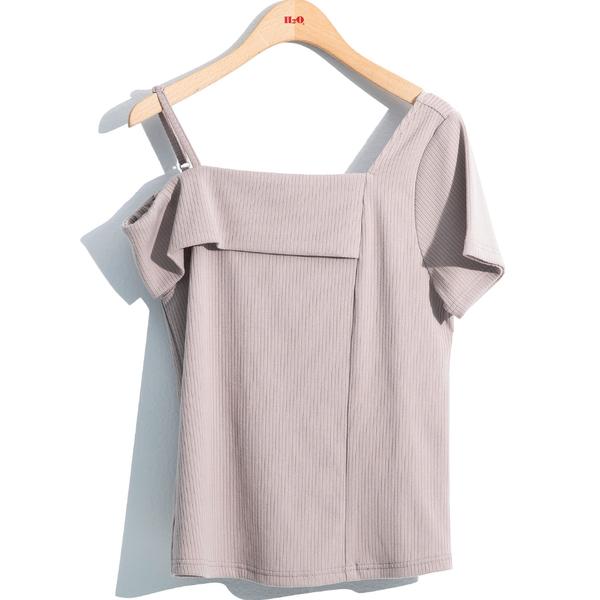 春夏下殺↘5折[H2O]不對稱袖型顯瘦上衣 - 黑底白條紋/白/灰粉色 #0681009