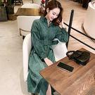 VK精品服飾 韓系復古燈芯絨襯衫配腰帶收腰長袖洋裝