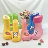 E家人 雨靴蘿卜兔兒童雨鞋卡通輕便玩沙鞋寶寶雨靴防滑水鞋保暖加絨水靴