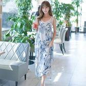 吊帶裙(套裝)-無袖雪紡印花圓領寬鬆女背帶裙73nj77[巴黎精品]