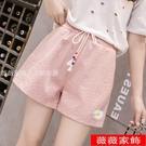 棉麻短褲 小雛菊棉麻運動短褲女寬鬆夏季薄款顯瘦高腰闊腿褲外穿百搭休閒褲 薇薇