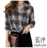 EASON SHOP(GW0166)韓版復古撞色格紋單口袋前排釦薄款長版長袖襯衫外套女上衣服落肩寬鬆顯瘦罩衫