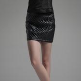 PU皮革短裙-簡約時尚菱格紋設計女裙子73hv16【時尚巴黎】