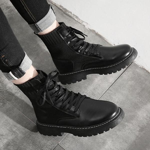 馬丁靴男潮中幫工裝靴子高幫英倫風男鞋春季百搭透氣潮流黑色皮靴 印巷家居