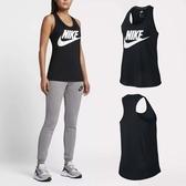 Nike 背心 Women Sportswear Essential Logo Tank 黑 白 女款 大Logo 無袖 【ACS】 831732-010