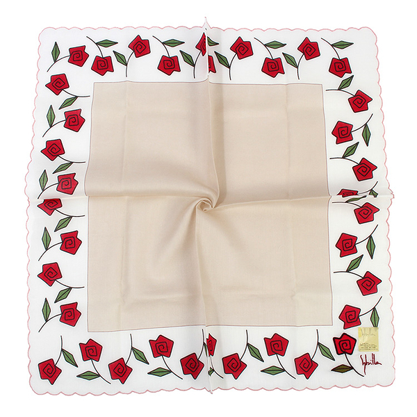 Sybilla 玫瑰印花純綿帕領巾(淺卡其色)989164