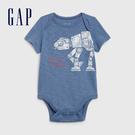 Gap男嬰創意印花信封領包屁褲576942-灰藍色