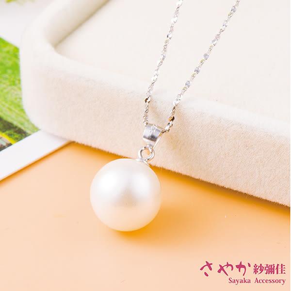 項鍊 925純銀 簡約時尚精緻珍珠項鍊 10mm珍珠款  【日本飾品-Sayaka】