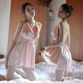 中大尺碼 情趣內衣性感透視絲綢睡裙女吊帶交叉露背三點式冰絲制服誘惑夜火 GB6175『科炫3C』