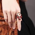 戒指 2021新款 古風景泰藍琉璃戒指食指女復古宮廷中國風花朵網紅古典裝飾品指環