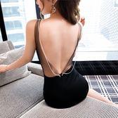VK旗艦店 韓國風性感掛脖修身包臀開叉禮服無袖洋裝