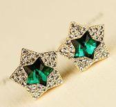 韓版 鋯石 微鑲 五角星 耳釘 韓國 熱賣 閃鑽 星星 耳釘